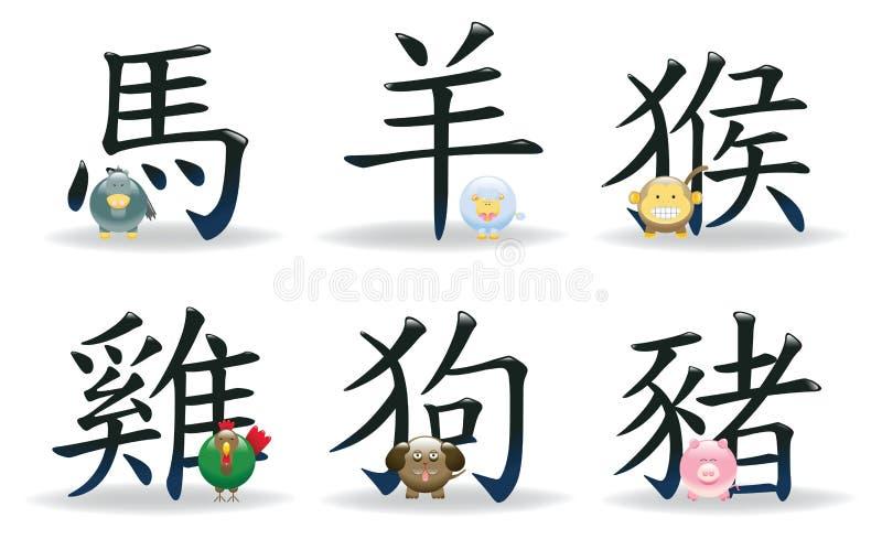 zodiac för 2 symboler för astrologi kinesisk royaltyfri illustrationer
