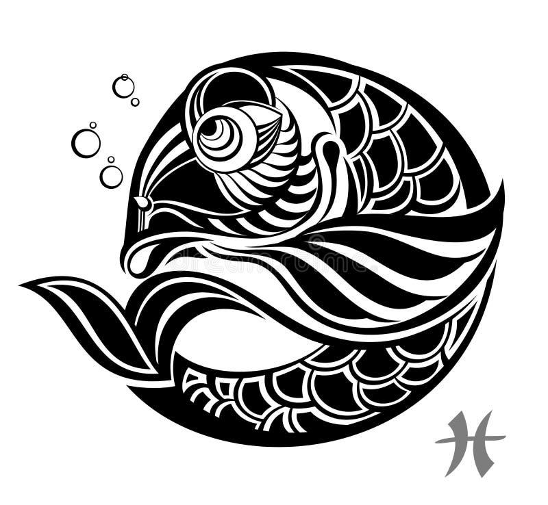 zodiac för tatuering för designpisces tecken royaltyfri illustrationer