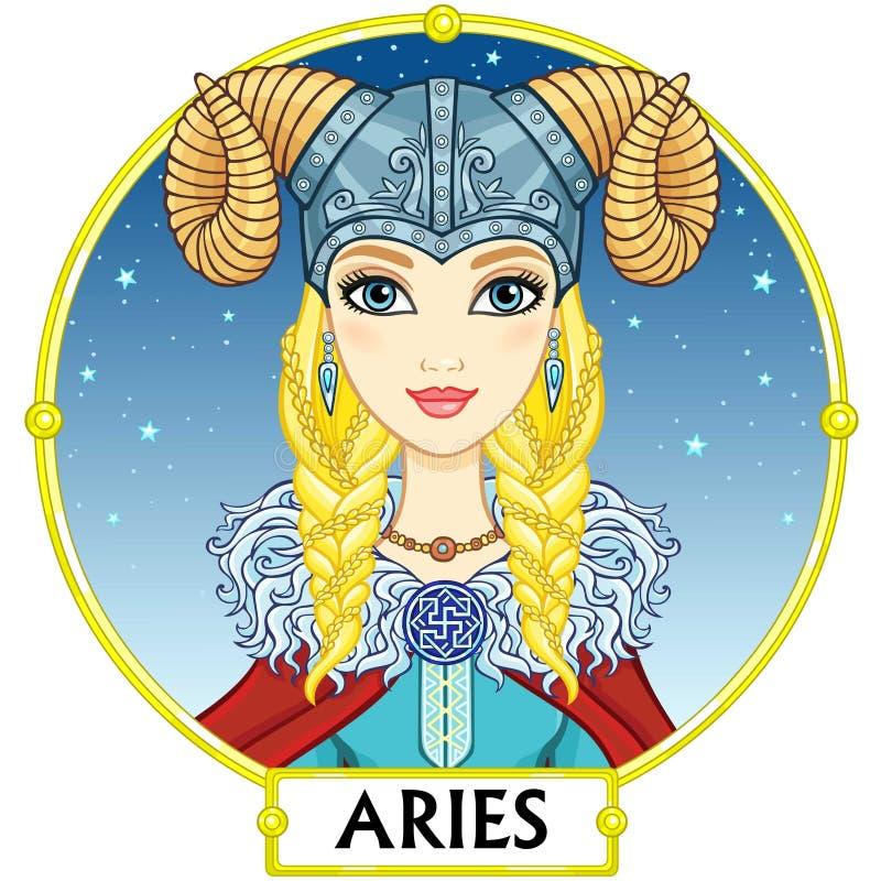 zodiac för vektor för ariesillustrationtecken stock illustrationer