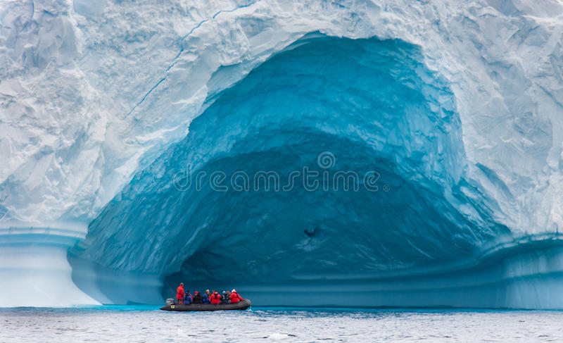Zodiac in front of glacier royalty free stock photography