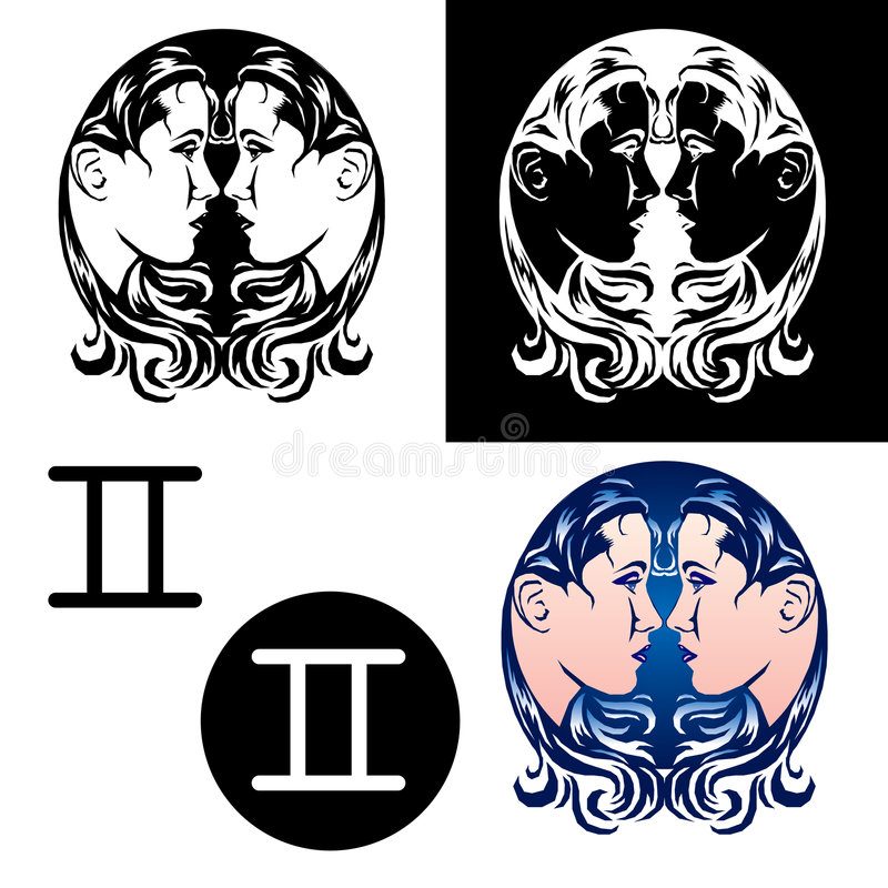Zodiac Gemini Icons royalty free stock images