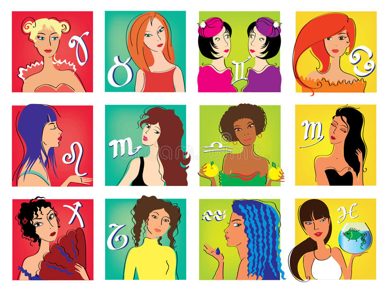 Zodiac girls vector illustration