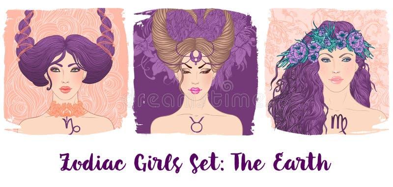 Zodiac girls set: Earth. Vector illustration of Taurus,Capricorn, Virgo astrological signs as a beautiful woman. Future. Telling, horoscope, alchemy royalty free illustration