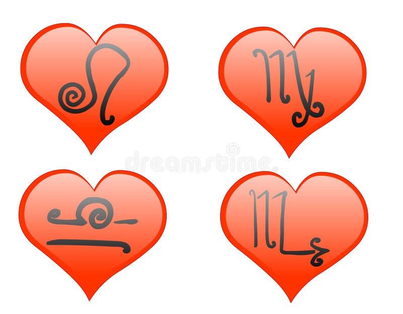 Zodiac hearts icon royalty free stock image
