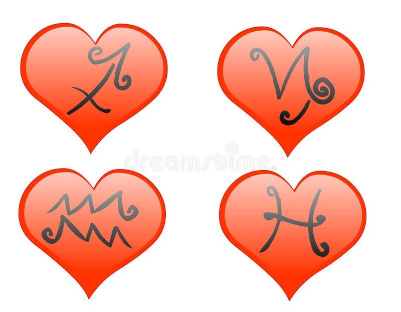Zodiac hearts icon stock image