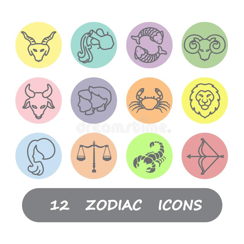 12 Zodiac icon vector royalty free illustration