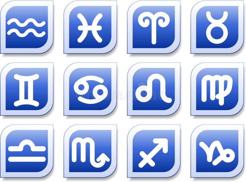 Zodiac icons. Et, blue style vector illustration