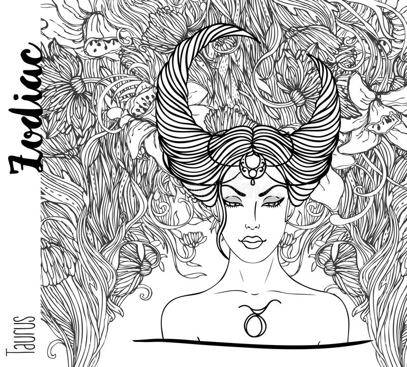 Zodiac: Illustration of Taurus zodiac sign as a beautiful girl.Vector art with portrait of a pretty girl. Black, white drawing vector illustration