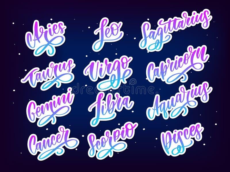 Zodiac lettering Vector Sign. Cartoon astrology text illustration. Horoscope handwritten icon set. Zodiac lettering Vector Sign. Cartoon astrology text vector illustration
