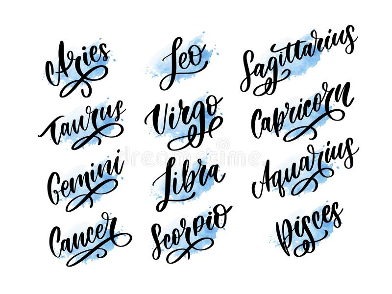 Zodiac lettering Vector Sign. Cartoon astrology text illustration. Horoscope handwritten icon set royalty free illustration