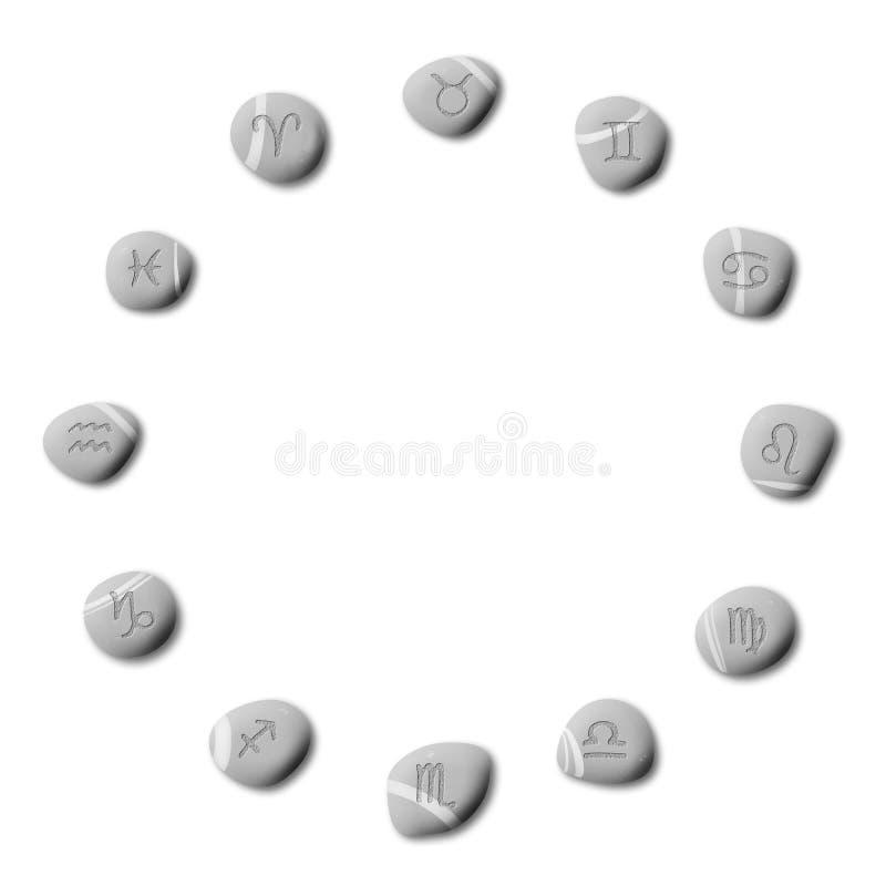 Zodiac pebbles royalty free illustration