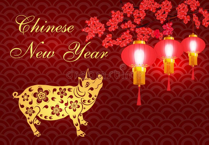 2019 Zodiac Pig. Greeting card. Chinese new year pig brings prosperity and good luck. Stylized illustrator vector illustration