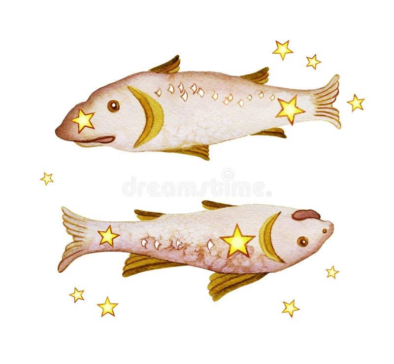 Αστρολογικό σημάδι zodiac Pisces διανυσματική απεικόνιση