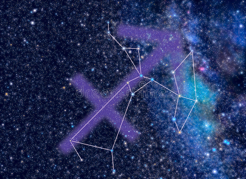 Zodiac Saggitarius stars royalty free stock photo