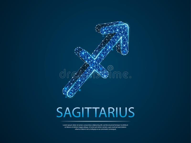 Zodiac Sagittarius χαμηλή πολυ αφηρημένη τρισδιάστατη απεικόνιση Διανυσματική έννοια ψηφίων wireframe χρυσή ιδιοκτησία βασικών πλ απεικόνιση αποθεμάτων
