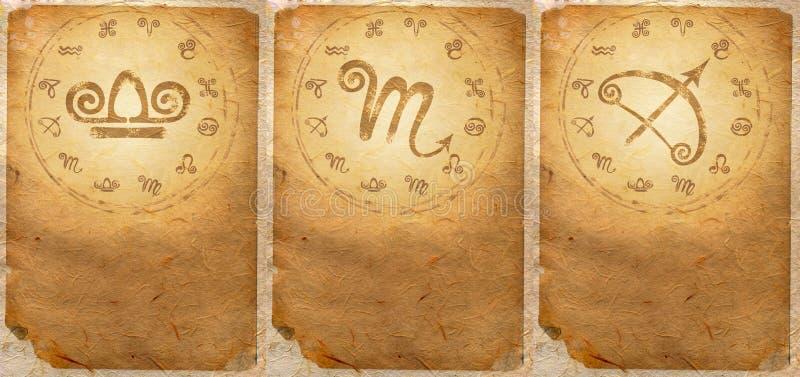 Zodiac series. For Libra, Scorpio, Sagittarius stock images