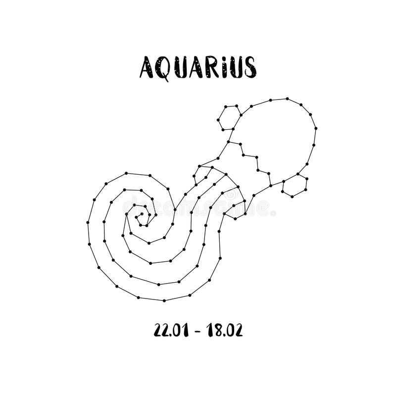 Zodiac sign Aquarius. Design element for flyers or greeting cards, emblem, logo. Vector astrological symbol. stock illustration