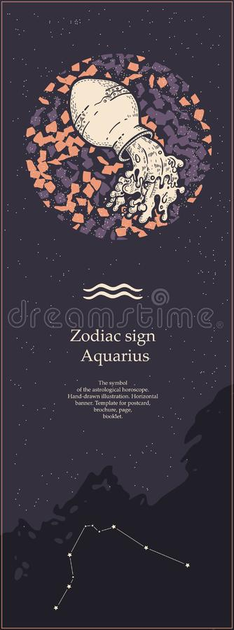 Zodiac sign Aquarius. The symbol of the astrological horoscope. Hand-drawn illustration. Vertical banner. Template for vector illustration
