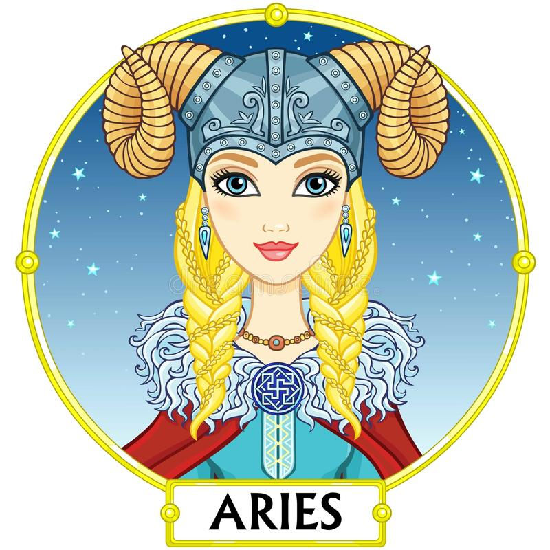 Zodiac sign Aries. stock illustration