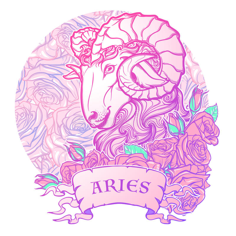 Zodiac sign of Aries. with a decorative frame roses Astrology concept art. Tattoo design royalty free stock photography
