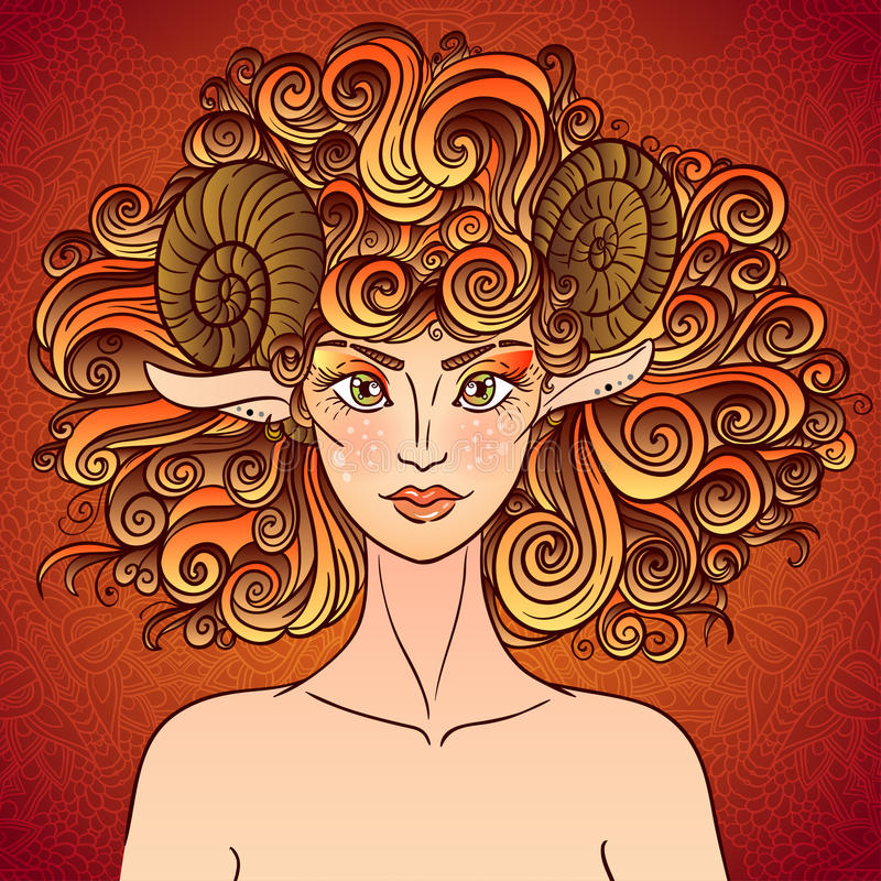 Download Zodiac Sign Aries. Sheep Lady. Stock Vector - Image: 50456993