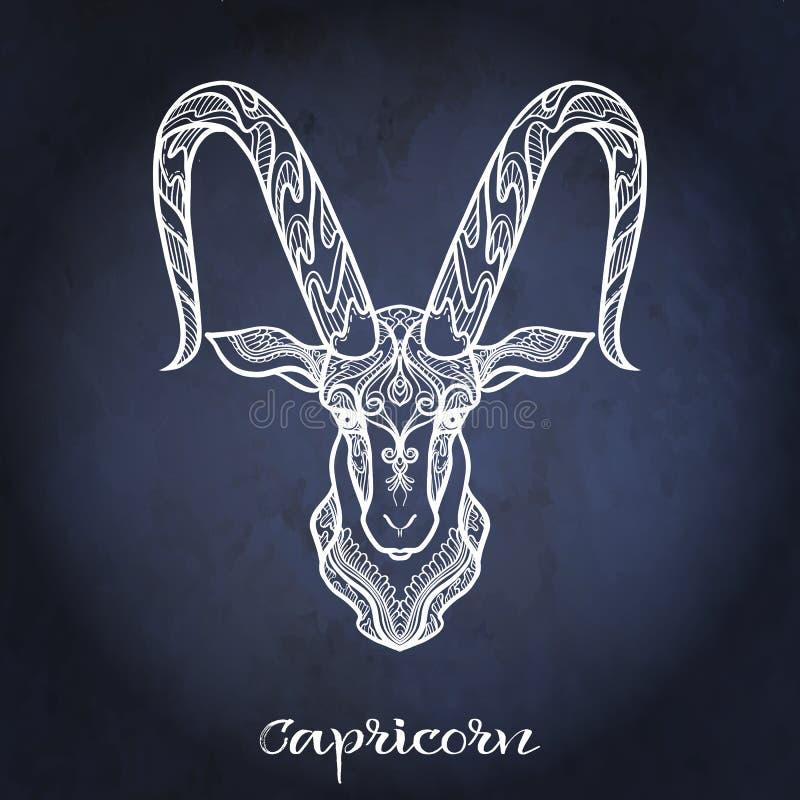 Zodiac sign. Astrological horoscope collection. Vector illustration. Capricorn Zodiac sign. Astrological horoscope collection. White on dark blue, black space stock illustration