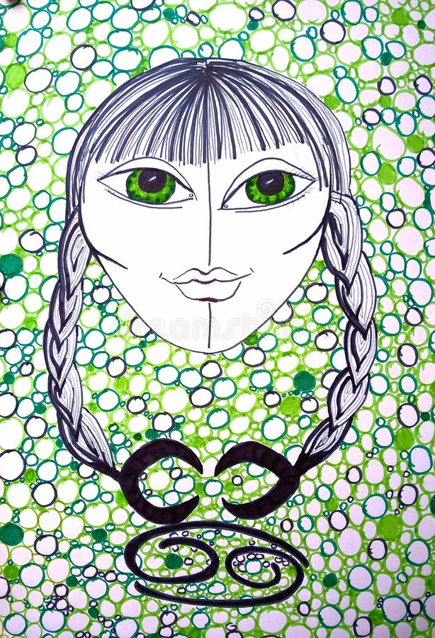 Zodiac Sign Cancer. Drawing by hand. Gorgeous girl shown as Cancer. The Crab. A water Zodiac Sign. Original painting royalty free illustration