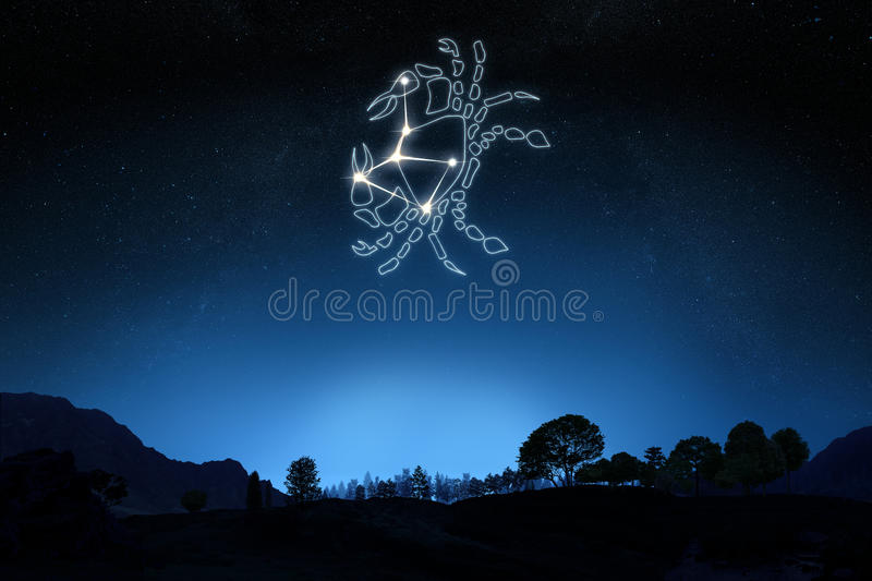 Zodiac Sign Cancer with a star and symbol outline stock image