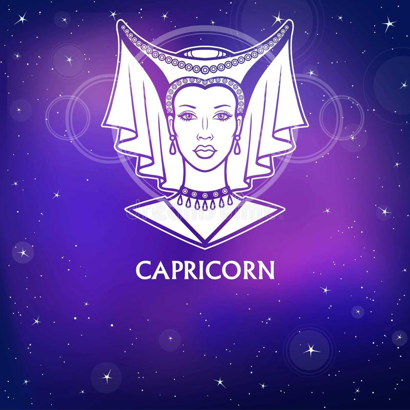 Zodiac sign Capricorn. Fantastic princess, animation portrait. White drawing, background - the night stellar sky. Vector illustration vector illustration