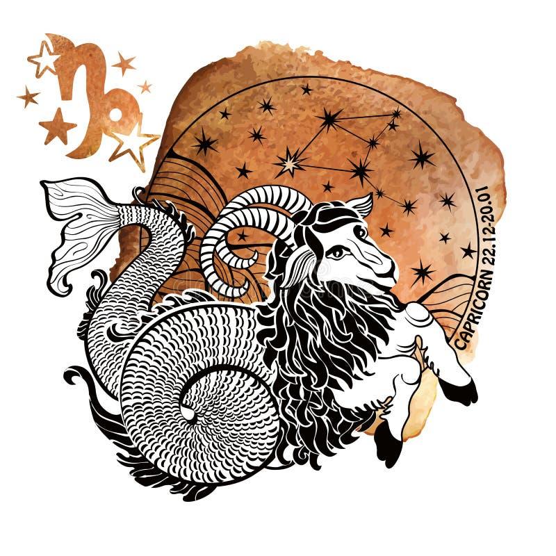 Free Zodiac Sign Capricorn.Horoscope Circle.Watercolor Royalty Free Stock Photo - 65016315