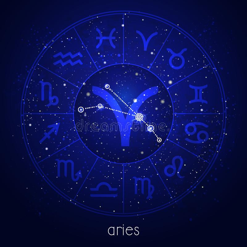 Zodiac sign and constellation ARIES with Horoscope circle and sacred symbols on the starry night sky background. vector illustration