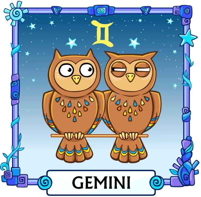 Zodiac sign Gemini. Fantastic animation animal. A background - the star sky, a decorative frame. Vector illustration royalty free illustration