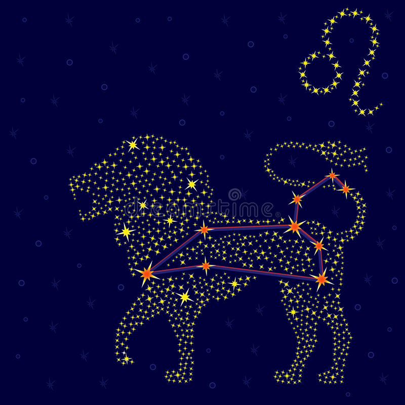 zodiac sign leo over starry sky stock illustration. Black Bedroom Furniture Sets. Home Design Ideas