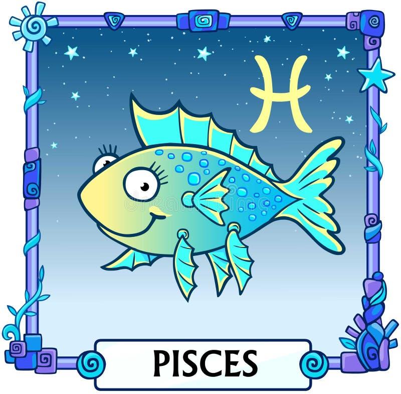 Zodiac sign Pisces. Fantastic animation animal. A background - the star sky, a decorative frame. Vector illustration royalty free illustration