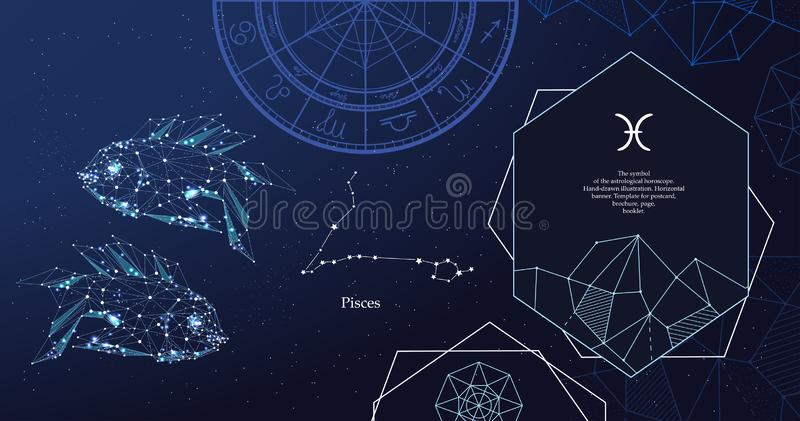 Zodiac sign Pisces. The symbol of the astrological horoscope. Horizontal banner. royalty free illustration
