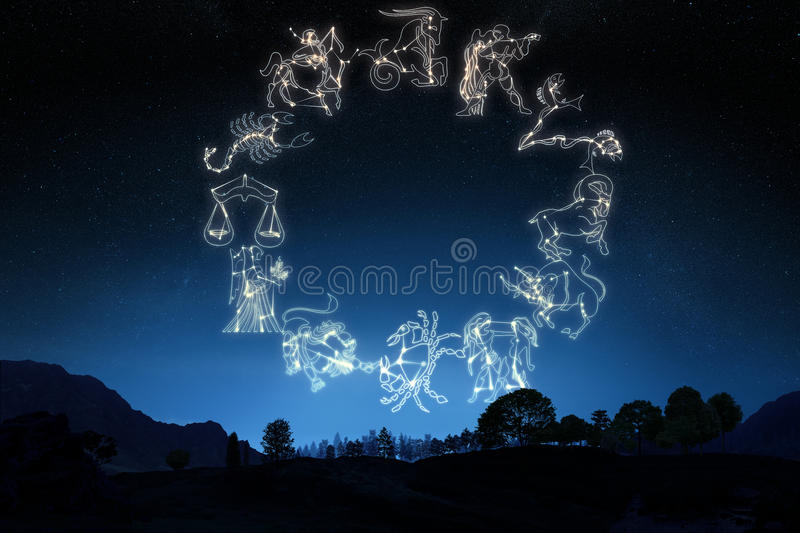 Zodiac Sign's on a gradient sky background royalty free stock image