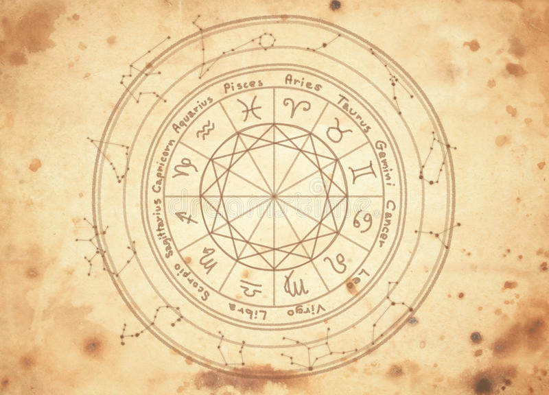 Zodiac sign. S on old paper stock photos