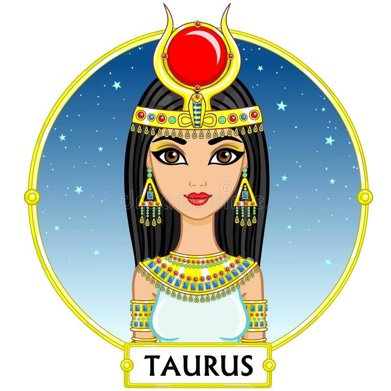 Zodiac sign Taurus. Animation character girl princess. A background - the star sky, a gold frame. Vector illustration royalty free illustration