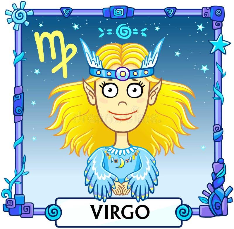 Zodiac sign Virgo. Fantastic animation animal. A background - the star sky, a decorative frame. Vector illustration vector illustration