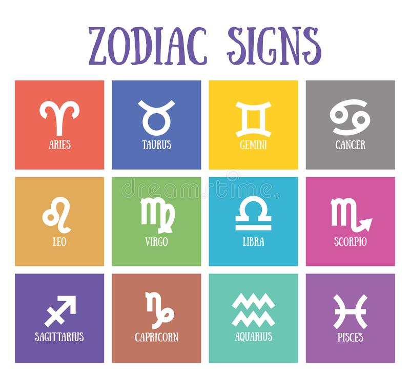 Zodiac signs: aquarius, libra, leo, taurus, cancer, pisces, virgo, capricorn, sagittarius, aries, gemini, scorpio. Astrological. Zodiac signs: aquarius, libra vector illustration