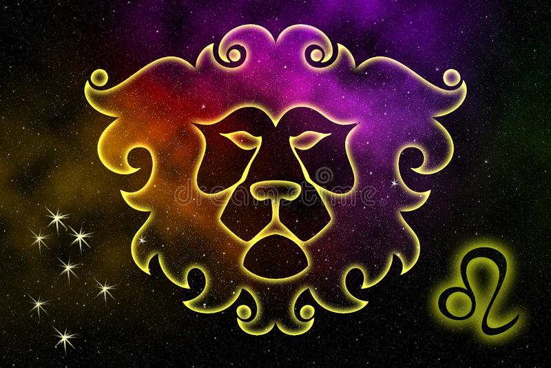 The astrological sign of the zodiac is Leo, against the background of outer space. Illustration royalty free illustration