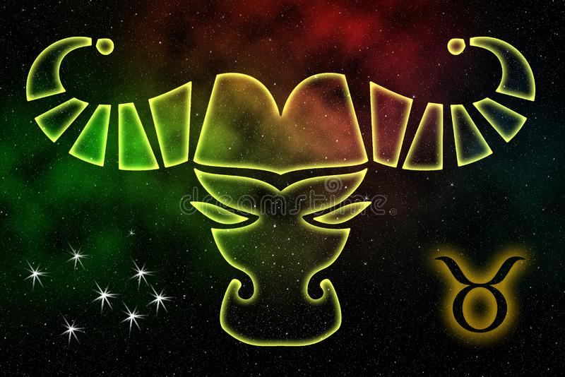 The astrological sign of the zodiac is Taurus, against the background of outer space. Illustration vector illustration