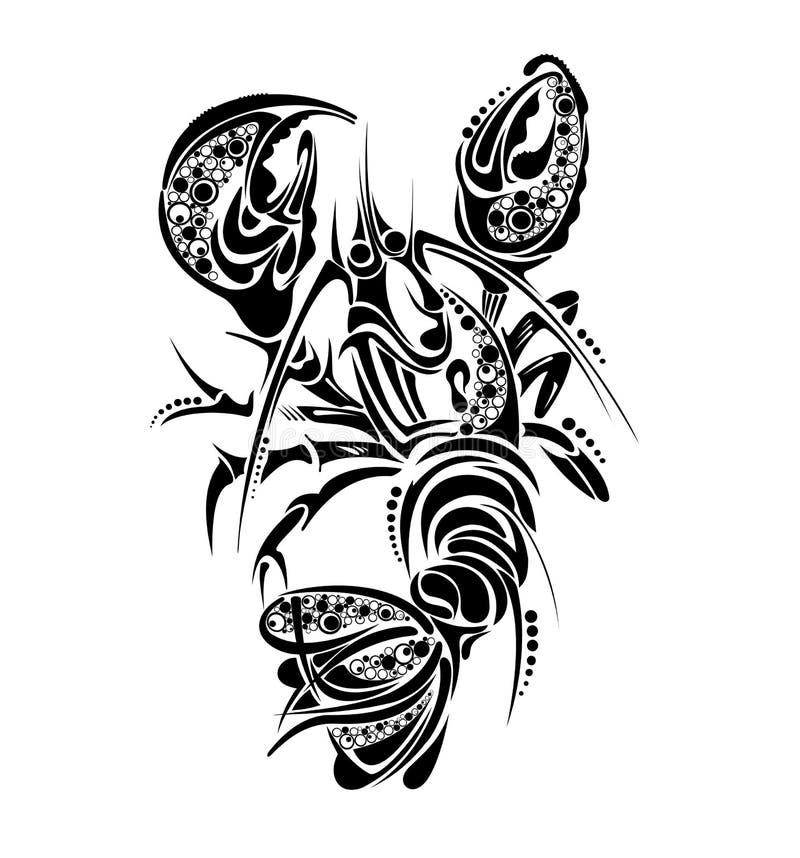 Zodiac signs - Cancer. Tattoo design. stock illustration