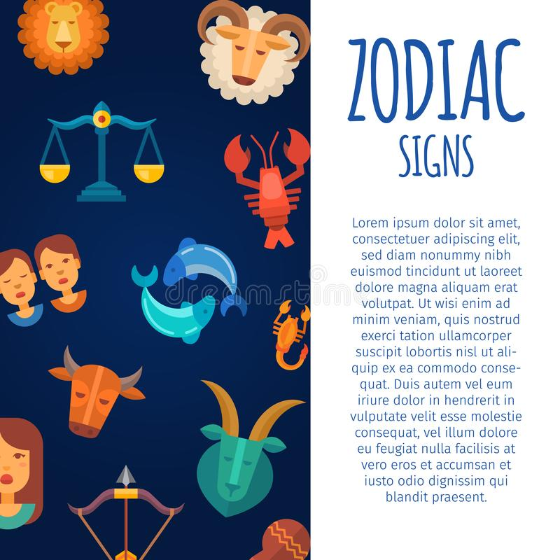 Zodiac signs on dark skies backgrounds vector illustration poster. Zodiacal and astrological horoscope calendar poster vector illustration