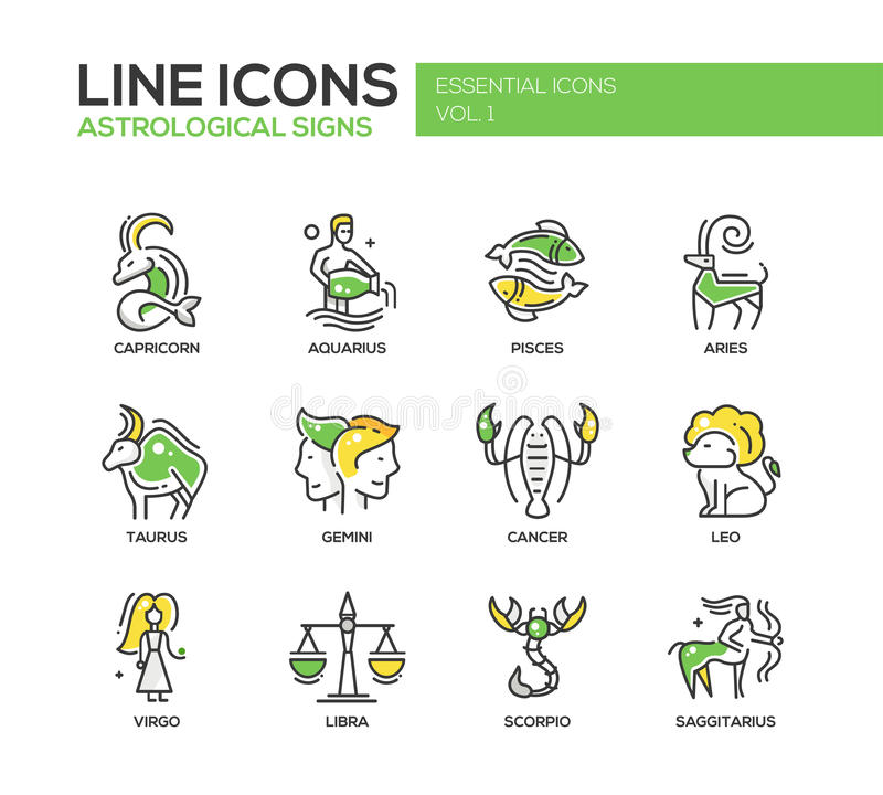 Zodiac signs icons set stock illustration