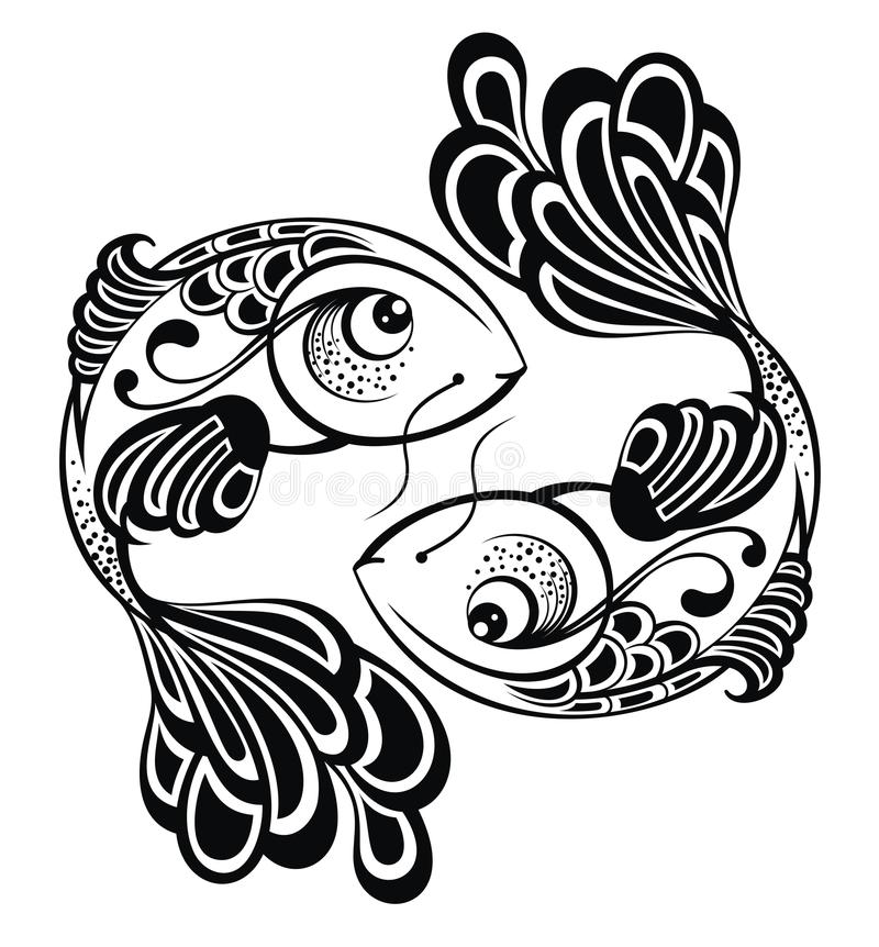 Zodiac signs - Pisces. Tattoo design royalty free illustration