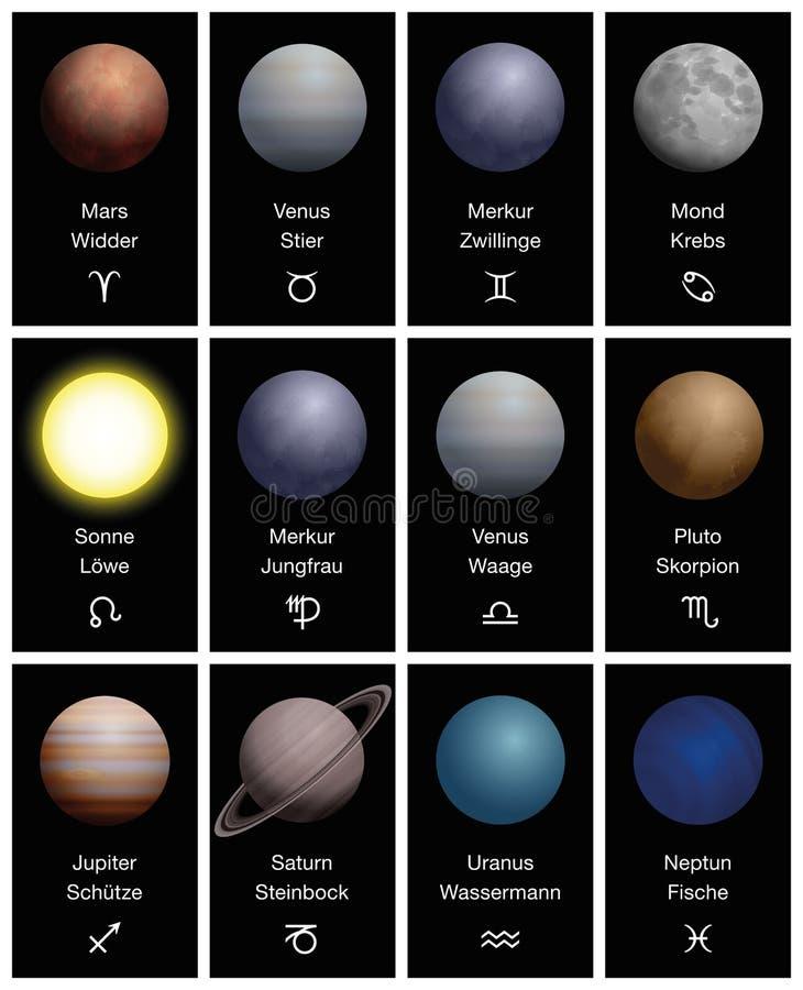 Zodiac Signs Planets Symbols Astrology GERMAN stock illustration