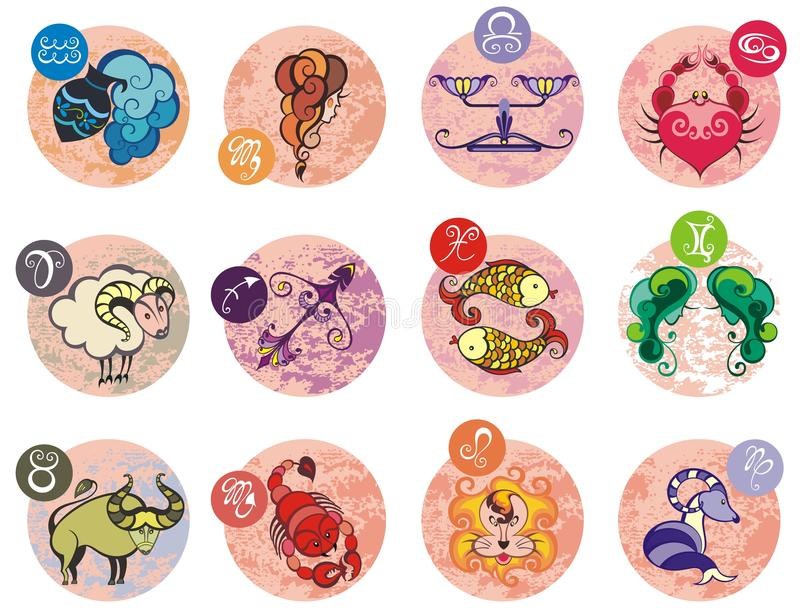 Collection of All Zodiac Signs. Vector illustration of Zodiac Signs royalty free illustration