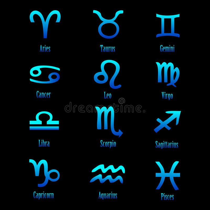 Zodiac signs - vector. Illustration of handmade zodiac signs isolated on black background.EPS file available stock illustration