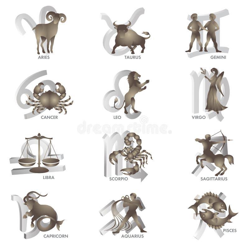 Zodiac signs royalty free illustration